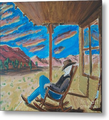 Cowboy Sitting In Chair At Sundown Metal Print by John Lyes