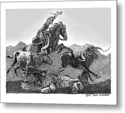 Cowboys And Longhorns Metal Print by Jack Pumphrey