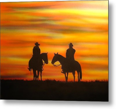 Cowboys At Sunset Metal Print by Chris Fraser