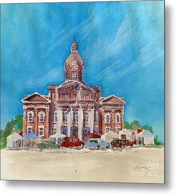 Metal Print featuring the painting Coweta County Courthouse Painting by Sally Simon
