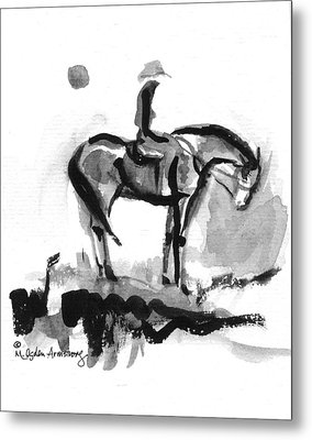 Metal Print featuring the drawing Cowgirl At End Of Day by Mary Armstrong