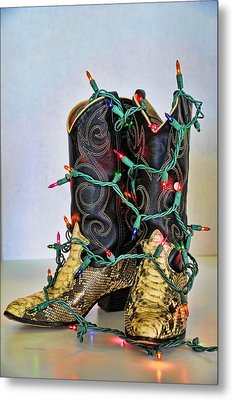 Cowgirl Christmas Metal Print by Kenny Francis