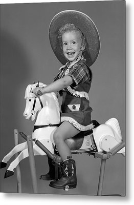 Cowgirl On Rocking Horse, C.1950s Metal Print