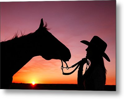 Cowgirl Sunset Metal Print by Todd Klassy