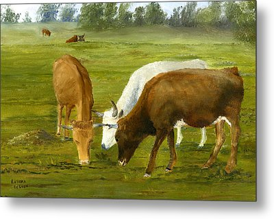 Metal Print featuring the painting Cows Gossip Session In Louisiana Pasture by Lenora  De Lude