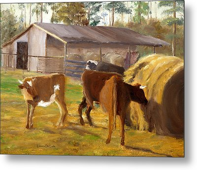 Metal Print featuring the painting Cows Hay And Barn In Louisiana by Lenora  De Lude