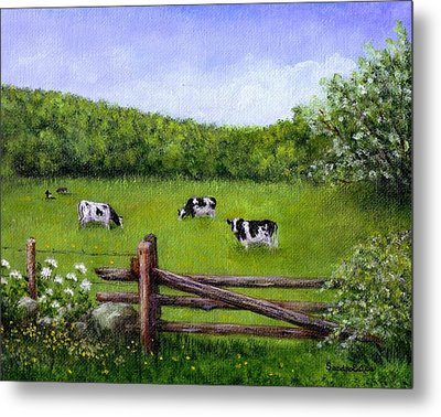 Cows In The Pasture Metal Print