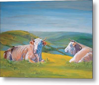 Cows Lying Down Painting Metal Print