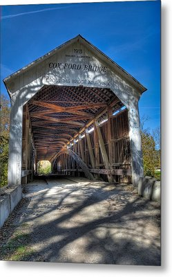 Cox Ford Covered Bridge Metal Print by Alan Toepfer