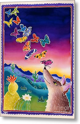 Coyote And The Laughing Butterflies Metal Print by Harriet Peck Taylor