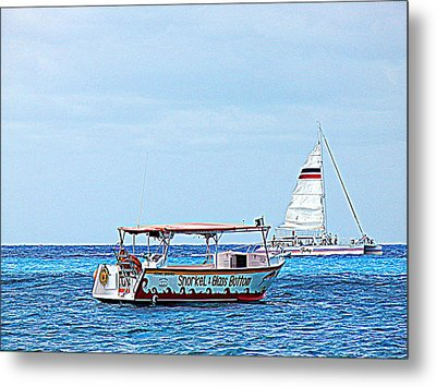 Metal Print featuring the photograph Cozumel Excursion Boats by Debra Martz