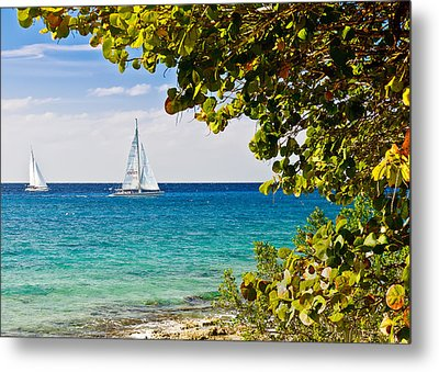 Metal Print featuring the photograph Cozumel Sailboats by Mitchell R Grosky