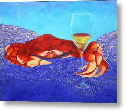 Crab And Chardonnay Metal Print by Nancy Jolley