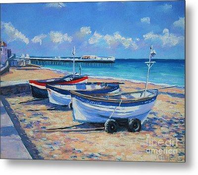 Crab Boats On Cromer Beach Metal Print
