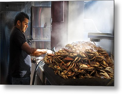 Crab Seller At Fisherman's Wharf  Metal Print by Dorothy Walker