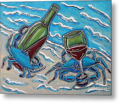 Crab Wine Time Metal Print by Cynthia Snyder