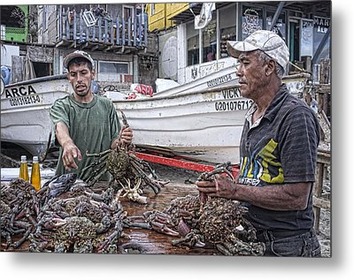 Crabbers At Popotla Metal Print by Hugh Smith