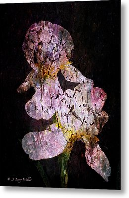 Metal Print featuring the digital art Crackled Iris Abstract by J Larry Walker