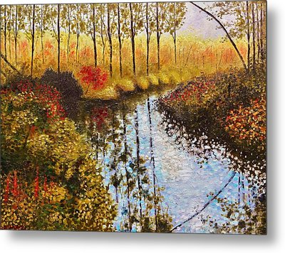 Metal Print featuring the painting Cranberry Bog by Jason Williamson