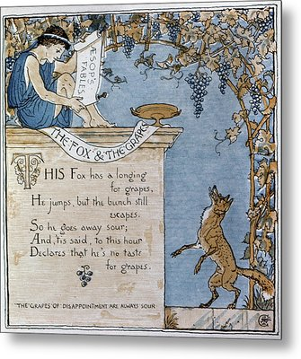 Crane Fox And The Grapes Metal Print
