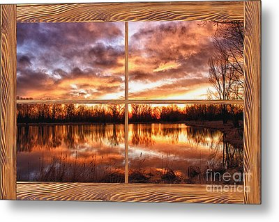 Crane Hollow Sunrise Barn Wood Picture Window Frame View Metal Print by James BO  Insogna