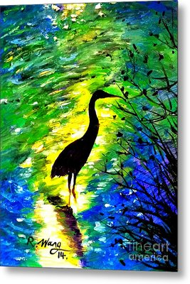 Crane In Lake Metal Print