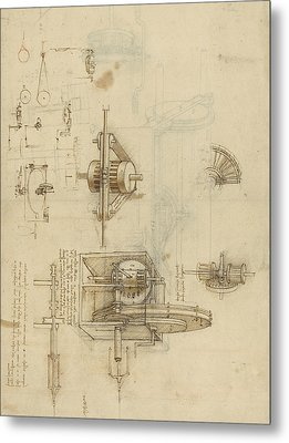Crank Spinning Machine With Several Details Metal Print by Leonardo Da Vinci