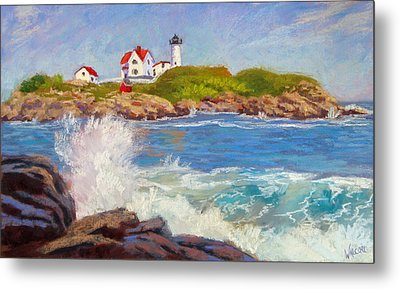 Crashing At Nubble Light Metal Print