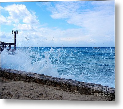 Metal Print featuring the photograph Crashing Waves In Cozumel by Debra Martz