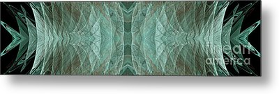 Crashing Waves Of Green 1 - Panorama - Abstract - Fractal Art Metal Print by Andee Design