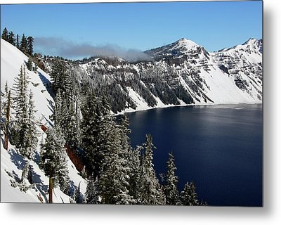 Crater Lake After Snow, Crater Lake Metal Print by Michel Hersen
