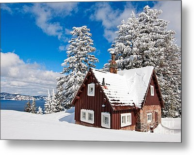 Crater Lake Home - Crater Lake Covered In Snow In The Winter. Metal Print by Jamie Pham