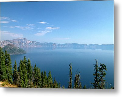 Crater Lake Shrouded In Smoke Metal Print by David R. Frazier