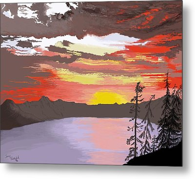 Metal Print featuring the digital art Crater Lake by Terry Frederick