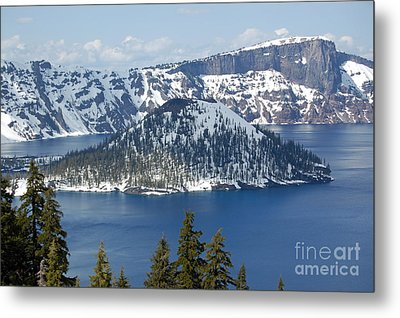 Metal Print featuring the photograph Crater Lake With Snow by Debra Thompson