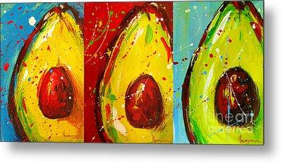 Crazy Avocados Triptych  Metal Print by Patricia Awapara