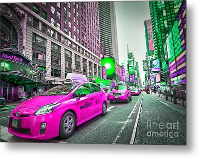 Crazy Cabs In Manhattan Metal Print by Delphimages Photo Creations