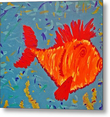 Metal Print featuring the painting Crazy Fish by Yshua The Painter