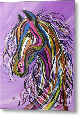 Metal Print featuring the painting Crazy Horse by Janice Rae Pariza