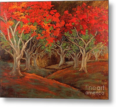 Metal Print featuring the painting Crazy Orange Trees by Vic  Mastis