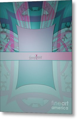 Cream Mint Line Metal Print