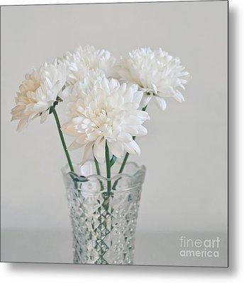 Creamy White Flowers In Tall Vase Metal Print by Lyn Randle