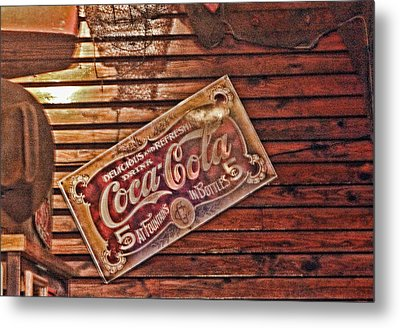 Creative Vintage Coca Cola Sign Metal Print by Linda Phelps