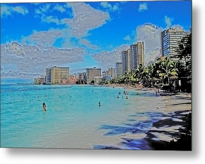 Metal Print featuring the photograph Creative Waikiki by Caroline Stella