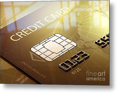 Credit Card Macro - 3d Graphic Metal Print