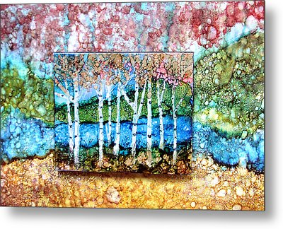 Creek Birches Metal Print