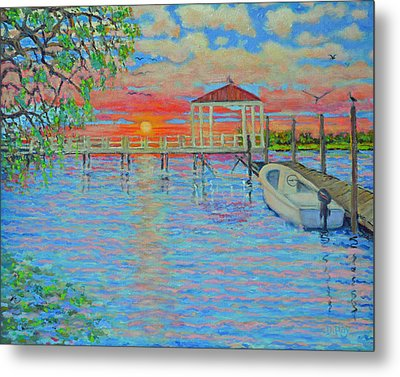 Creek Club Docks At Sunset Metal Print by Dwain Ray