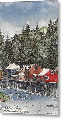 Metal Print featuring the mixed media Creek Street In Ketchikan by Tim Oliver