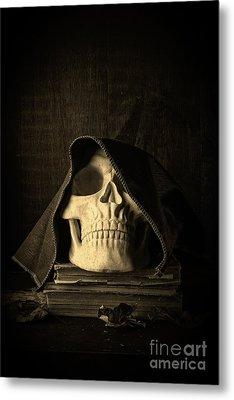 Creepy Hooded Skull Metal Print