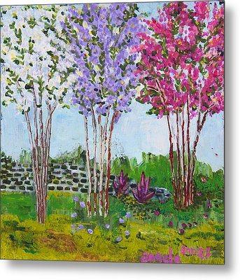 Metal Print featuring the painting Crepe Myrtles by Angela Annas
